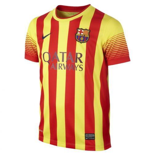 Nike Maillot De Match Away Barcelona Enfant  13/14 VIBRANT YELLOW/MIDNIGHT NAVY