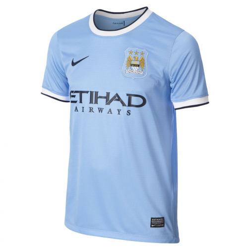 Nike Maglia Gara Home Manchester City Junior  13/14 BLU