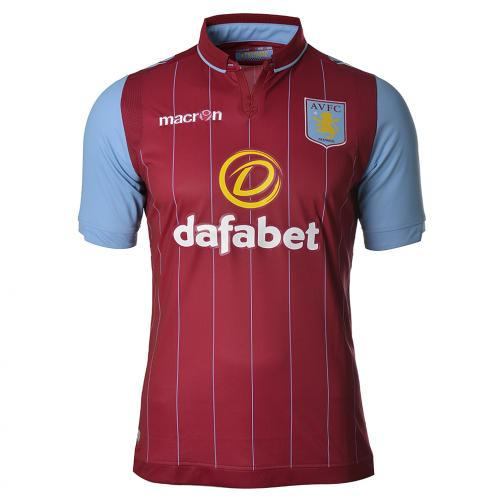 Macron Maillot De Match Home Aston Villa   14/15 BORDEAUX AND BLUE LIGHT
