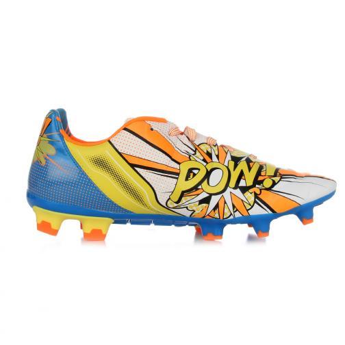 Puma Chaussures De Football Evopower 2.2 Pop Fg white-orange clown fish-electric blue lemonade Tifoshop