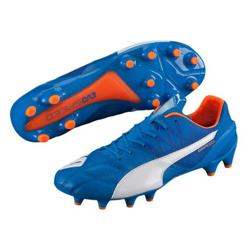 Football Shoes Evospeed 1.4 Lth Fg electric blue lemonade-white-orange clown fish FIGC Store