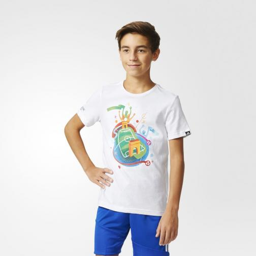 Adidas Originals T-shirt Stadium Graphic Tee  Junior Bianco