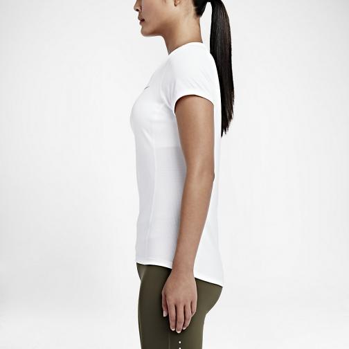 Nike T-shirt Nike Dri-fit Contour Short-sleeve  Femmes White Tifoshop