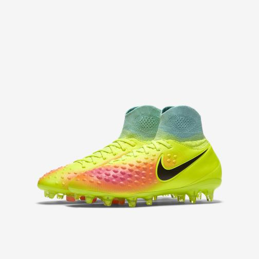 Nike Chaussures De Football Magista Obra Ii Fg  Enfant VOLT/BLACK-TOTAL ORANGE-PINK BLAST Tifoshop
